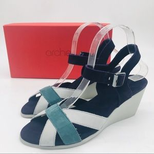 Arche Nubuck Leather Wedge Heels Sandals